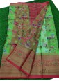 Gorgeous Green and Red Organza Saree in allover Flower Design with Kanchi Border - 1