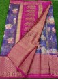 Vibrant Purple and Magenta Organza Saree in allover Flower Design with Kanchi Border - 1