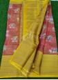 Rustic Orange and Yellow Organza Saree in allover Flower Design with Kanchi Border - 1