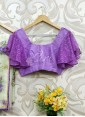 Lilac Khadhi and Lace Net Ruffle Sleeves Blouse - 1