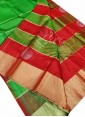 Beautiful Red Green Pure Handloom Designer Soft Silk Saree - 1