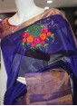 Designer Handloom saree with Beautiful intricate Hand Embroidery Work. - 1
