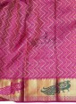 Peacock Green Pure Kanchipuram Saree with Magenta Pink Pallu and Border - 1