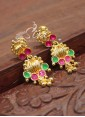 Simple Emerald Ruby Micro Polish Gold Plated Earrings - 1