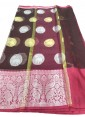 Maroon Organza Silk Saree in Silver and Gold Butis - 1