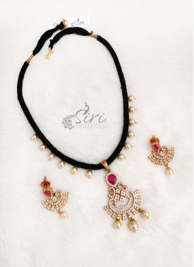AD Pendant Set Fancy Black Beads Mangalsutra