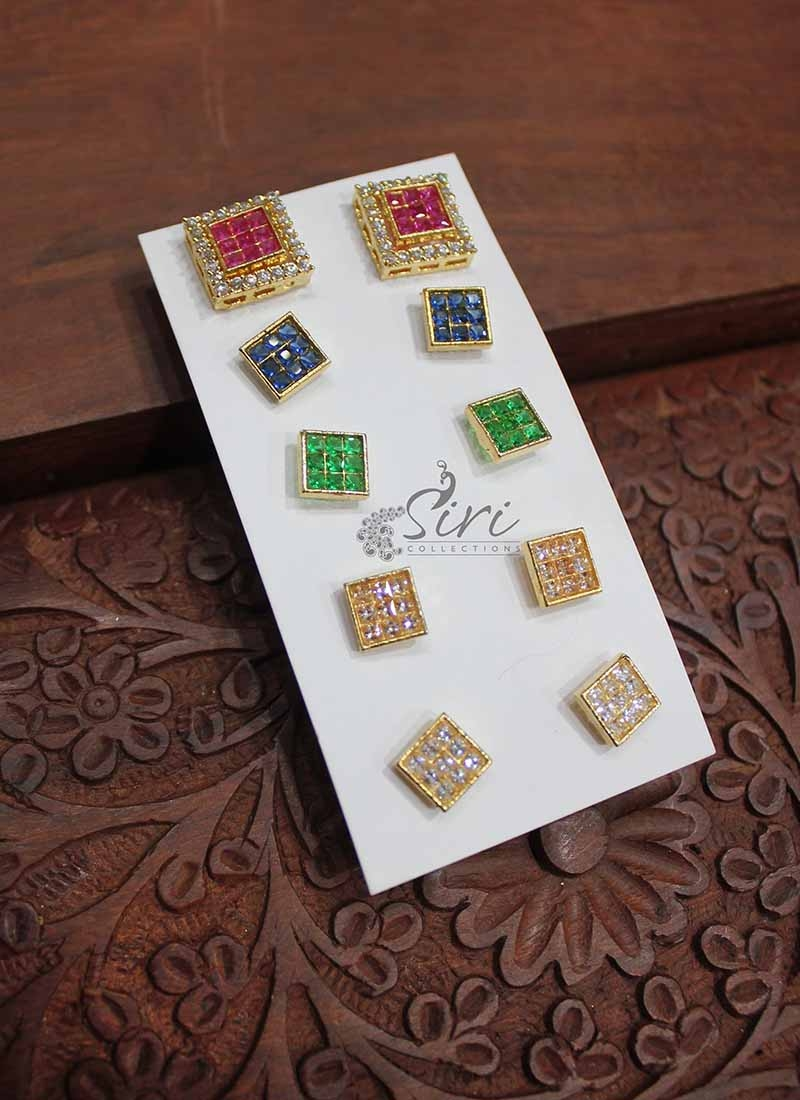 AD Stone Earrings in Changeable Centre Studs