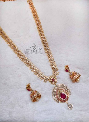AD stone Long Haaram Necklace Set