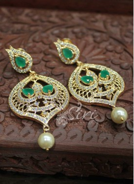AD Stones and Green Stone Designer Earrings