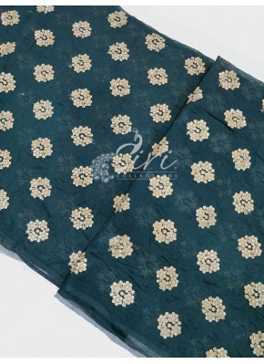 Alluring Dark Green Chanderi Fabric in Gold Embroidery Work Per Meter