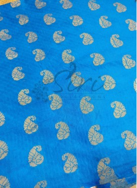 Ananda Blue Fancy Banarasi Silk in Paisley Buti By Meter