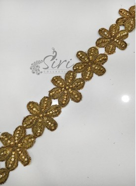 Antique Gold Border Lace in Cording and Stone Work