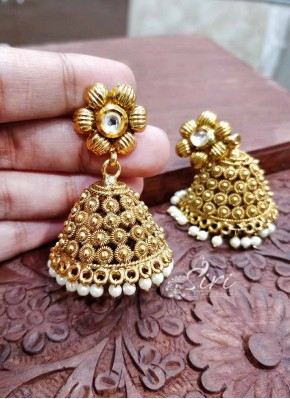 Antique Polish Big Jhumkis Earrings