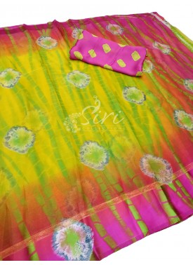 Appealing Fancy Jute Crepe Saree in Shibori Design