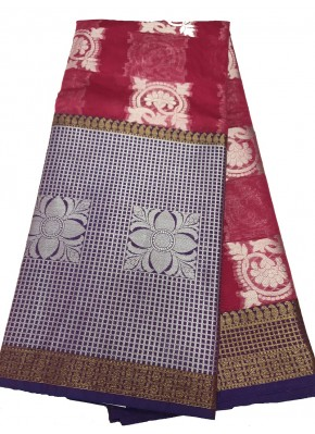Appealing Magenta and Purple Fancy Banarasi Saree in Big Silver Border