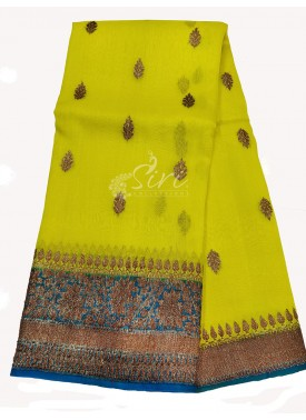 Appealing Neon Yellow Banarasi Kora Handloom Silk