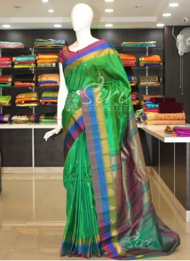 Authentic Pure Gadwal Silk Saree in Green with con
