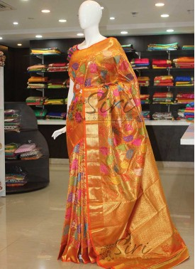 Authentic Pure Kanchipuram Bridal Silk Saree in Orange