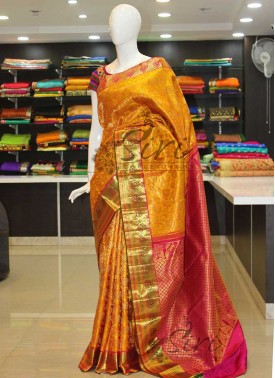Authentic Pure Kanchipuram Bridal Silk Saree in Yellow