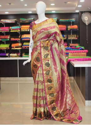 Authentic Pure Kanchipuram Silk Saree in Paithani Style border