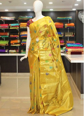Authentic Pure Kanchipuram Silk Saree in Yellow with Multi Peacock Butis