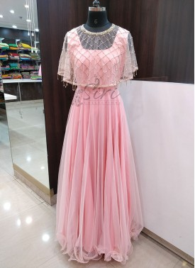 Baby Peach Trendy Long Frock With HandWork Cape