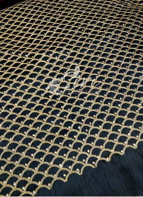 Black Raw Silk Fabric in Gold Embroidery and Stone Work Per Meter