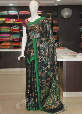 Banarasi Cotton Silk Saree in Black and Green