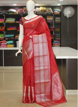 Banarasi Cotton Silk Saree in Rich Silver Borders