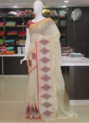 Banarasi Cotton Silk Saree in Silver Polka Dots