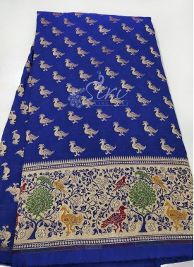 Banarasi Paithani Silk Fabric in one side Border Design Per Meter