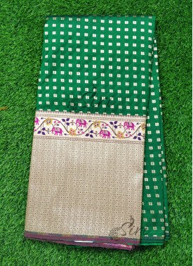Banarasi Silk Fabric in one side Big Border Design