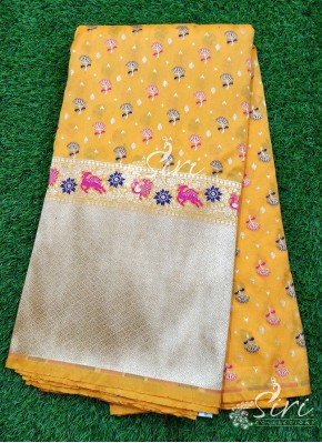 Banarasi Silk Fabric in one side Big Border Design Per Meter