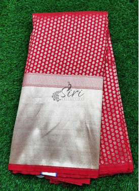 Banarasi Silk Fabric in one side Kaddi Border Design