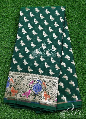 Banarasi Silk Fabric in one side Paithani Border Design Per Meter