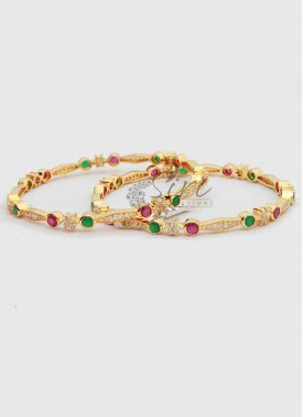 Beautiful AD  Multi Stone Pair of Bangles.