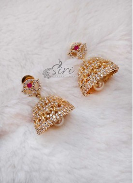 Beautiful AD Stone Earrings Jhumkas