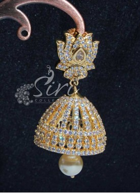 Beautiful AD Stone Jhumkis with Pearl Drop
