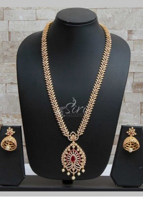 Beautiful AD Stone Long Necklace Haaram Set