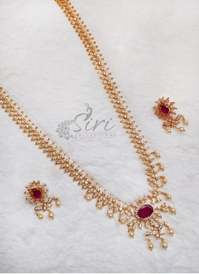 Beautiful AD Stone Long Necklace Set