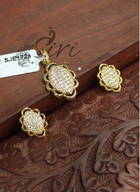Beautiful AD Stone Pendant Set with Earrings