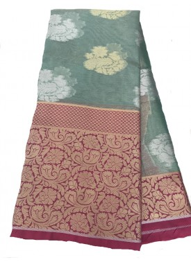 Beautiful Banarasi Kora Organza Saree in All Over Silver and Gold Buti