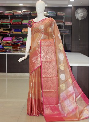 Beautiful Banarasi Kora Tissue Organza Saree in All Over Silver and Gold Buti