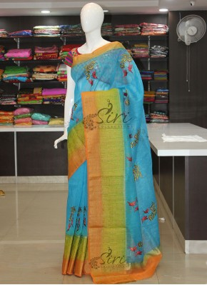 Beautiful Banarasi Linen Saree in Embroidery Work Butis and Self Zari Weave