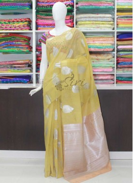 Beautiful Banarasi Linen Saree in Woven Butis and Rich Pallu