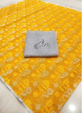 Beautiful Banarasi Net in Self and Silver Butis with Designer Blouse Fabric