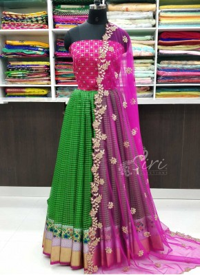 Beautiful Banarasi Organza Lehenga with Banarasi Silk Blouse Fabric and Cut Work Dupatta