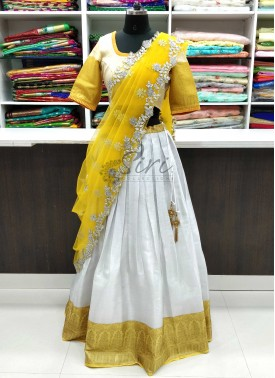 Beautiful Banarasi Organza Silk Lehenga with Cut Work Dupatta