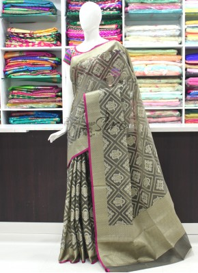 Beautiful Banarasi Saree Olive Grey