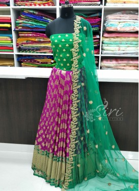 Beautiful Banarasi Silk Lehenga Fabric with Blouse and Cut Work Dupatta